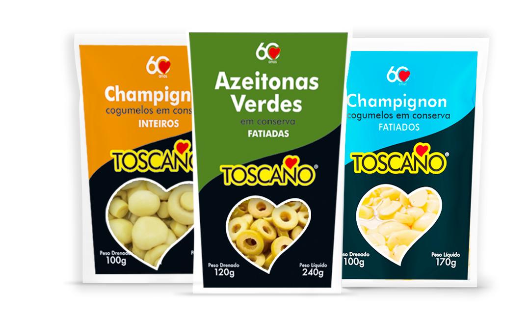 Linha de Azeitonas e Champignon Toscano Alimentos